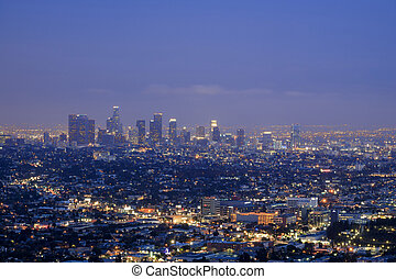 Griffin Observatory and Los Angeles downtown, twilight
