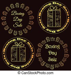 Boxing day sale stamps, tags golden - Vector boxing day sale...