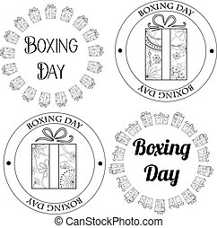 Boxing day stamps, tags - Vector boxing day stamps, tags