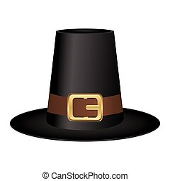Black hat with a gold buckle on white background - Black hat...