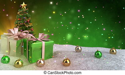 green christmas theme with gifts, snow and bokeh background. Seamless loop. 3D render.