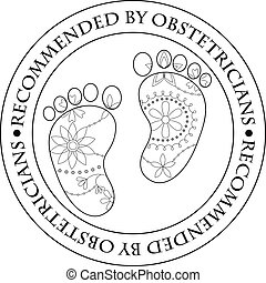 Stamp recommended by obstetricians - Vector stamp...