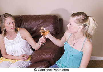 Teenage Drinking Caught by Mother - Mother Taking a Drink...