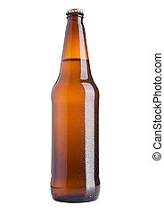 Brown beer bottle cold with frost on white