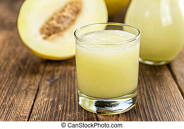 Honeydew Melon smoothie (selective focus) - Honeydew Melon...