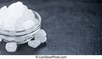 White Rock Candy on a slate slab - Slate slab with a portion...