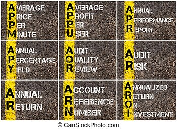 Photo collage of Business Acronyms written over road marking...