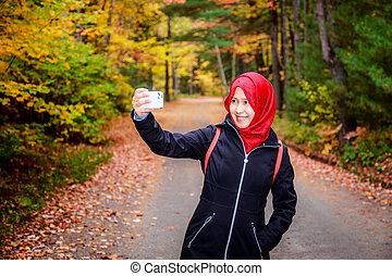musulman, femme, dans, nord, amérique, pendant, automne