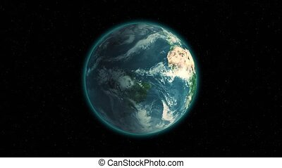 Realistic Earth Rotating on black space background with...