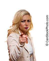 Mad woman pointing. - A image of a amd woman pointing her...