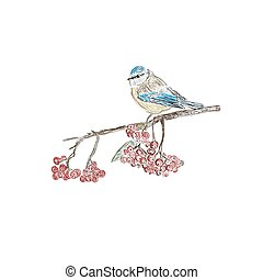 bird on branch, sketch style, vector illustration