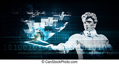 Data Security and Man Using Tablet as a Tech Concept