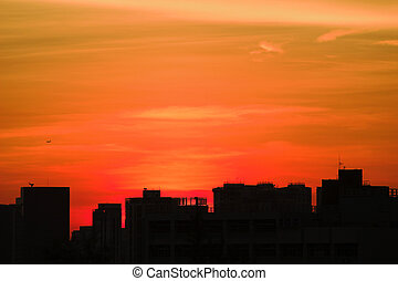 Sunset at city of hk with silhouette