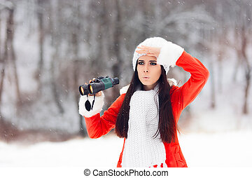 Surprised Winter Woman with Binoculars Looking for Christmas...
