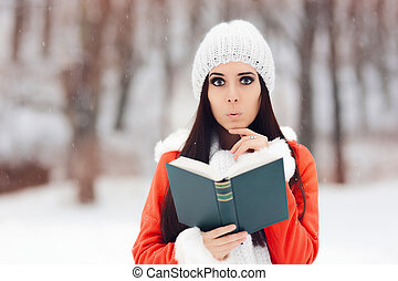 Surprised Woman Reading a Book Outside in the Snow - Funny...