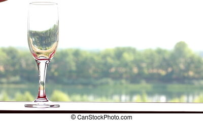 glass filled with red wine