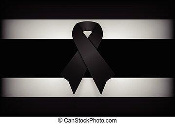 Black ribbon on Thailand flag . dim design . mourn for king...
