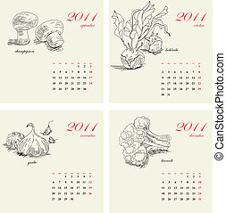 Template for calendar 2011. Vegetable