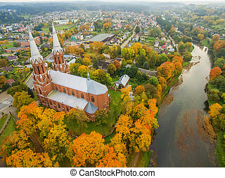 Anyksciai, Lithuania: neo-gothic roman catholic church in the autumn