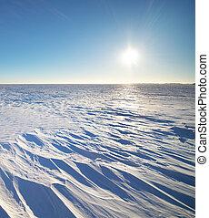 Winter nature landscape - Winter landscape. Composition of...