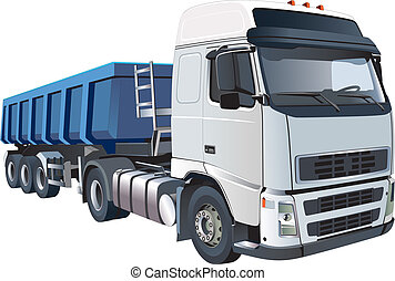 Big dumper - Detailed vectorial image of big white dumper,...