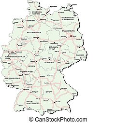 Germany autobahn map - Vectorial map of Germany with...