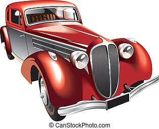Luxurious vintage car - Detailed vectorial image of...