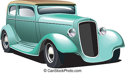 Green Hot Rod - Vectorial image of old-fashioned green hot...