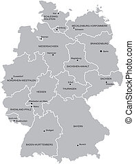 Map of Germany - Vectorial map of Germany with provinces No...