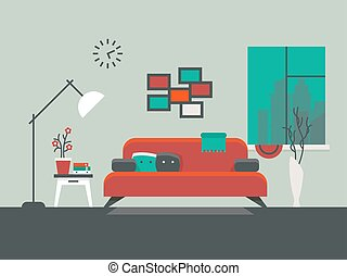 Home interior of living room vector illustration. Table and...