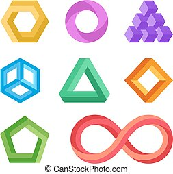 Impossible geometric shapes vector set. Abstract colored...