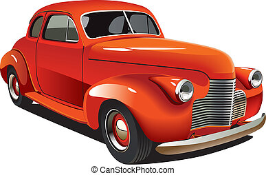Red old-fashioned hot rod - Vectorial image of old-fashioned...