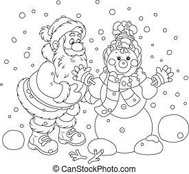 Santa and Snowman - Santa Claus making a funny smiling...
