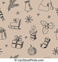 Seamless pattern with decorative Christmas elements -...