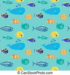 Seamless pattern with decorative beautiful fish - Seamless...