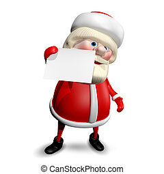 3D Illustration Jolly Santa Claus with White Background - 3D...