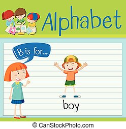 Flashcard letter B is for boy