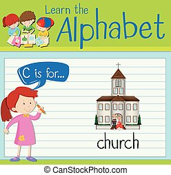 Flashcard letter C is for church illustration