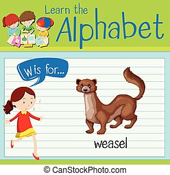 Flashcard alphabet W is for weasel illustration
