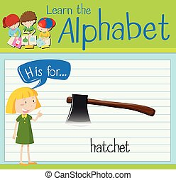 Flashcard letter H is for hatchet illustration