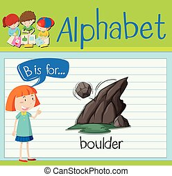 Flashcard alphabet B is for boulder illustration
