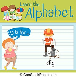 Flashcard letter D is for dig illustration
