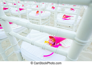 Chair setting for Wedding on the beach.