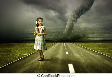 girl tornado - little girl large tornado over the road (...