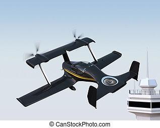 Autonomous flying drone taxi concept. 3D rendering image.