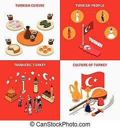 Touristic Turkey 4 Isometric Icons Square