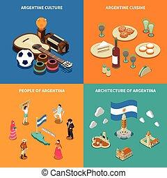 Argentina 4 Touristic Isometric Icons Square - Argentina...