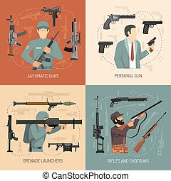 Weapons Guns 2x2 Design Concept - Armed men with weapons...