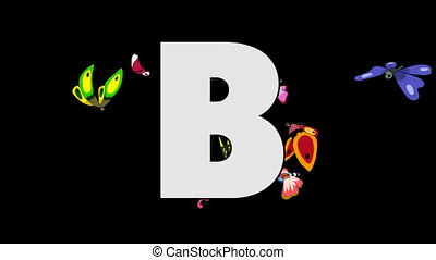 Letter B and Butterfly (background) - Animated animal...