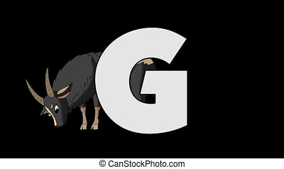 Letter G and Goat (background) - Animated animal English...